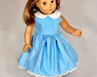 Blue and white spring dress for your 18 inch doll