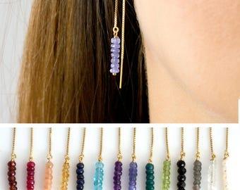 Birthstone Threader Earrings, Gemstone Threader Earrings, Wedding Bridal Party Earrings, Everyday Earrings, Dangling Earrings, gift for her