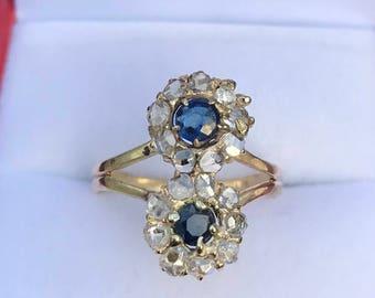 14k and 10k yellow gold Late Georgian Diamond, Sapphire Ring