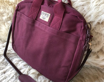 Vintage 1990s 90s Land's End Laptop maroon red cranberry case messenger bag shoulder bag Men's tote
