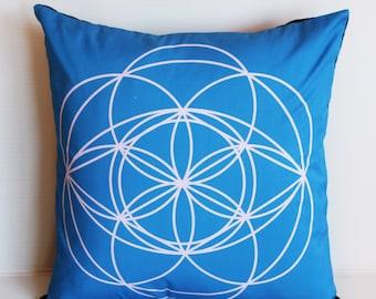 Square blue cushion cover eco friendly organic cotton throw cushion, geo print 01