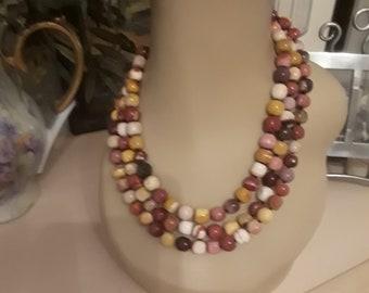 Three strand assorted jasper necklace