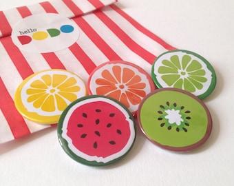 Fruit Button Badge Pack, Summer Pinback Button, Fruit Badges, Food Badges, Watermelon Brooch, hello DODO badges, Party Bag filler, Fun badge