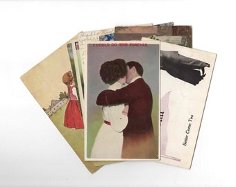 15 Early 1900s Used Antique Postcards - Couples