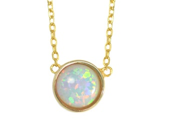 Gold Vermeil White Opal Gemstone Coin Necklace in Sterling Silver 16'' - 18'' - Dainty and Delicate