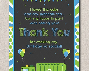 Garbage Truck Thank you card, Garbage Truck  Birthday, Garbage Truck party,Thank you note, printable, INSTANT DOWNLOAD