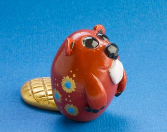 Cute Polymer Clay Beaver Figurine Totem Sculpture with Blue Gold Flowers & Gold Tail