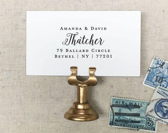 Calligraphy Return Address Stamp. Personalized Self-Inking Stamp. Wooden Mailing Stamp. Custom Address Stamp. STYLE 80. Family Gift Idea.