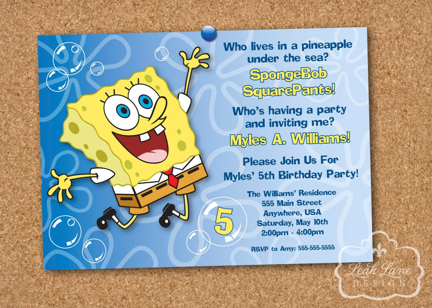 SpongeBob SquarePants Birthday Party Printable Invitation