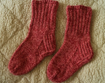 Hand knit  thick wool socks