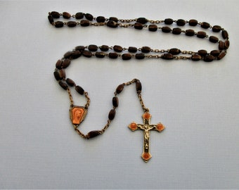 Our Lady of Lourdes Rosary Beads - Antique Rosaries - Enamel Rosary - French Rosary - Religious Jewelry - Catholic Gift