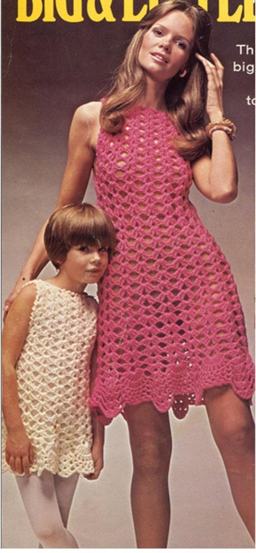 Patron pdf de tejido en crochet vestido Pequeno y Grande-Mama