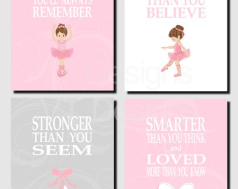 Pink Gray Wall Art, Ballerina Decor, Kids, Girl Room Decor, Girl Nursery Art, Promise Me You'll Always Remember, Set of 4, Prints or Canvas