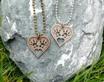 Rat footprint, pet, rat, rat necklace, various finishes, rat paw print, heart pendant, 3D printed, non precious metal, pendant jewellery