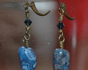 Denim Lapis, Swarovski and Brass Earrings
