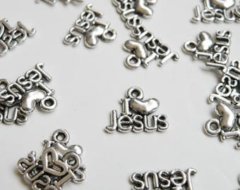 10 I Love Jesus charms religious inspirational message charms antique silver I Heart Jesus 12x16mm DB20867