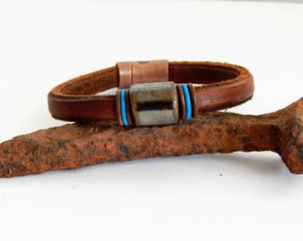 Rugged Leather Bracelet - Men's Leather Bracelet - Unique Leather Bracelet - Gift for Him - Free Shipping in the U.S.