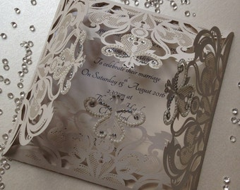 Hollywood Glamour Wedding Invitation with Diamonds & Pearls
