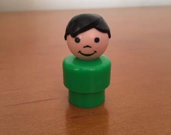 Vintage Fisher-Price Little People Green Boy with Black Hair