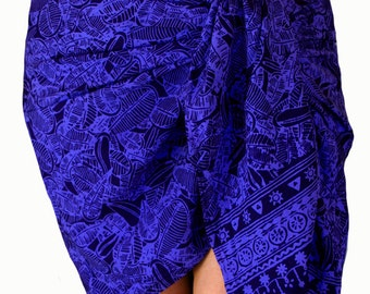 Short Batik Sarong Pareo Wrap Skirt Women's Clothing Mini Skirt - Indigo Blue Leaves Long or Short Sarong Skirt Beach Sarong - Surf Clothes