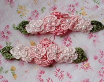 2 Handmade Flowers With Leaves (3-1/2inch X 1-1/4inch) In Pink, Lt Pink  MY- 038 - 01 Ready To Ship