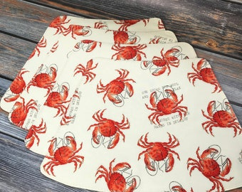 Placemats,  Beach House Decor, Curved Placemats, Red Crabs, Round Table Placemats, Beach, Gifts For the Home, Crab Print, Waves