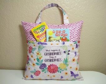TRAVEL Pillowcase / Pocket Pillowcase / What HAPPENS at GRANDMA'S Stays at Grandma's Pillowcase / Kids Pillowcase Tote / Floral Pillowcase