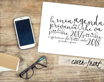 italian desktop planner, 2017-18 calendar, black and white Planner, 2017-2018 planner, monthly calendar planners, desktop printable planner