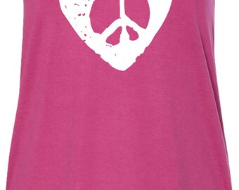 Hippie Heart Peace Ladies Flowy Racerback Tank Top HEARTPEACE-8800