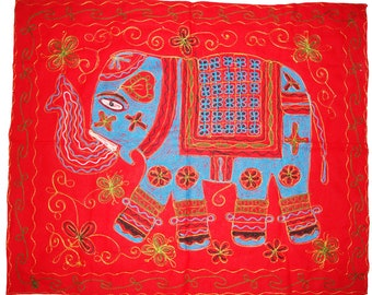 Exotic Indian traditional home living elephant embroider wall hanging wall tapestry table cloth runner throw