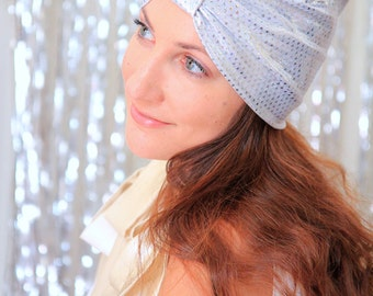 Hair Turban in Silver Metallic with Sparkle Dots - Women's Fashion Headwrap - Iridescent Hair Accessories - Ready to Ship