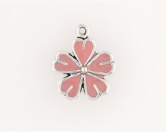 Sterling Silver Enameled Pink Daisy Flower Charm
