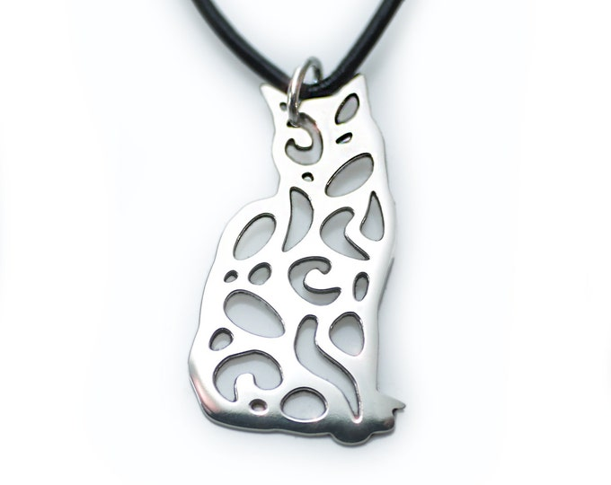 Silver Cat Pendant, Cat Lover Jewelry, Small Version Cat Necklace