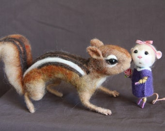 Made to Order - Needle Felted Animal - Life Scale CHIPMUNK - Soft Sculpture