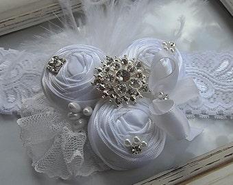 Christening White Headband / Christening White Flowers Headband / Flower girl / White Rolled Flowers  / Photography / Prop.