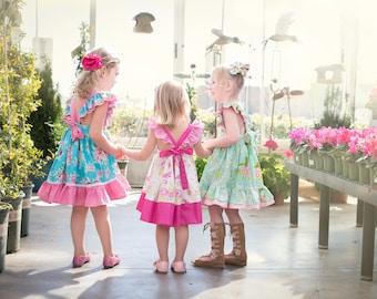 Bellevue Romper and Bellevue Dress PDF Sewing Pattern Bundle, including Romper Sizes 0-3 months - 4 years and Dress Sizes 12 months-14 years