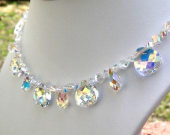 Swarovski Crystal Wedding Necklace, Crystal Bride Jewelry, Teardrop Crystal Bridal Choker, Sterling Silver, Statement Necklace Prom Necklace