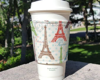 FREE SHIPPING UPGRADE with minimum -  Fabric coffee cozy / cup sleeve / coffee sleeve  / teacher gift / Paris Eiffel Tower