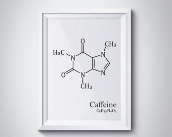 Caffeine Molecule, Coffee Print, Coffee Prints, Chemistry Art, Chemistry Poster, Caffeine Print, Science Poster, Minimalist Art,  #HQMOL02