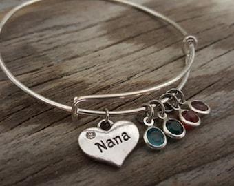 Nana Bangle - Nana Jewelry - Nana Gift - Nana Bracelet - Birthstones - Bst/In