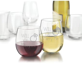 Single Etched Red or White Stemless Wine Glass - (Will You Marry Me?)
