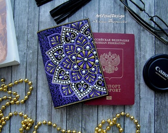 Passport cover, Leather accessory, purple and gold mandalas, gift for her