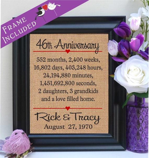 46th Anniversary 46th Wedding Anniversary Gift 46th