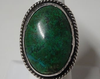 Large Native American Sterling Silver and Turquoise Ring - FREE SHIPPING & Insurance