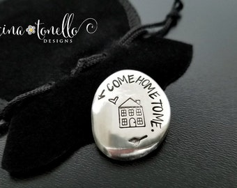 Come Home To Me Pocket Coin, Police Officer Gift Firefighter, Safe Travel Gift, Fly Safe, Husband Good Luck Charm, Going Away Gift for Child
