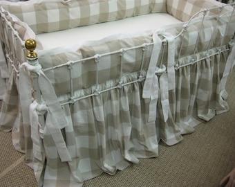 Buffalo Check Tailored Bumper Gathered Cribskirt Fabric