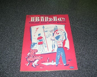 Bible Color and Play Book  Help Yourself Series Bible Coloring Book Whitman 1955 Vintage