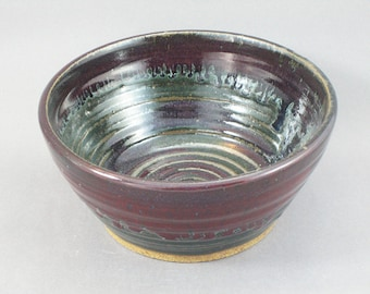 Pottery Medium Bowl Red & Green to Black Glazed REDGTB15
