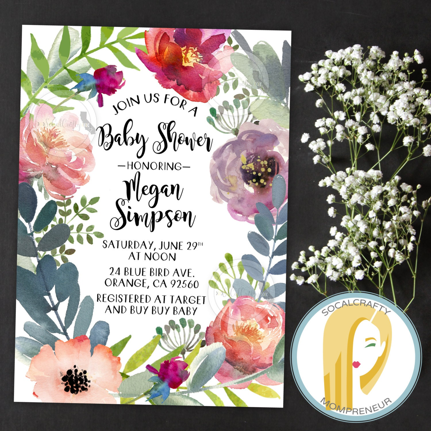 Bohemian Baby Shower Invitation Peony Peonies Watercolor