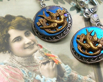 1800s BUTTON earrings, Victorian BIRDS on blue steel. Antique button jewellery.